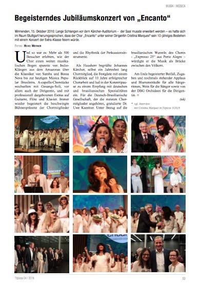 Jubiläumskonzert – Artikel in der Zeitschrift Topicos