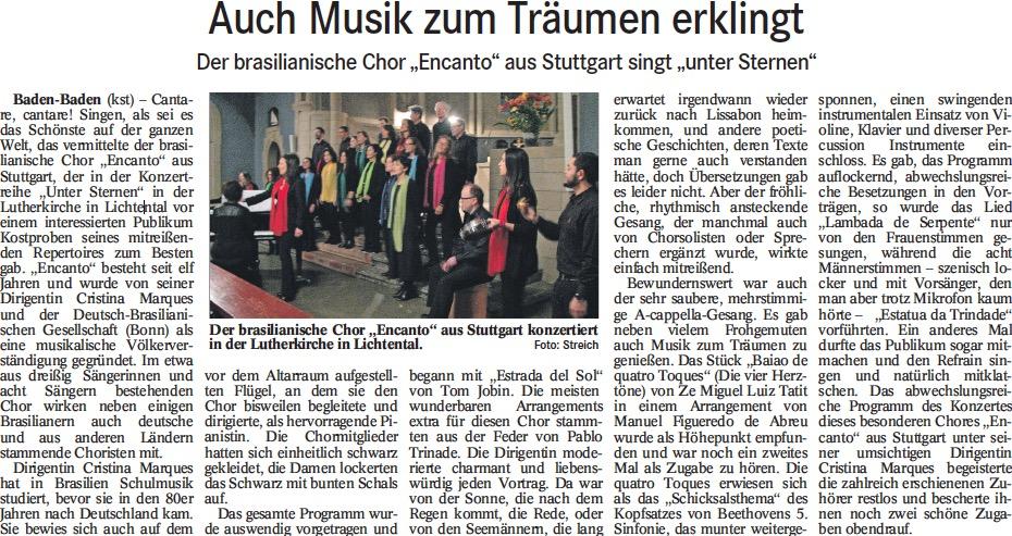 Kritik Konzert Baden-Baden 30. Januar 2018